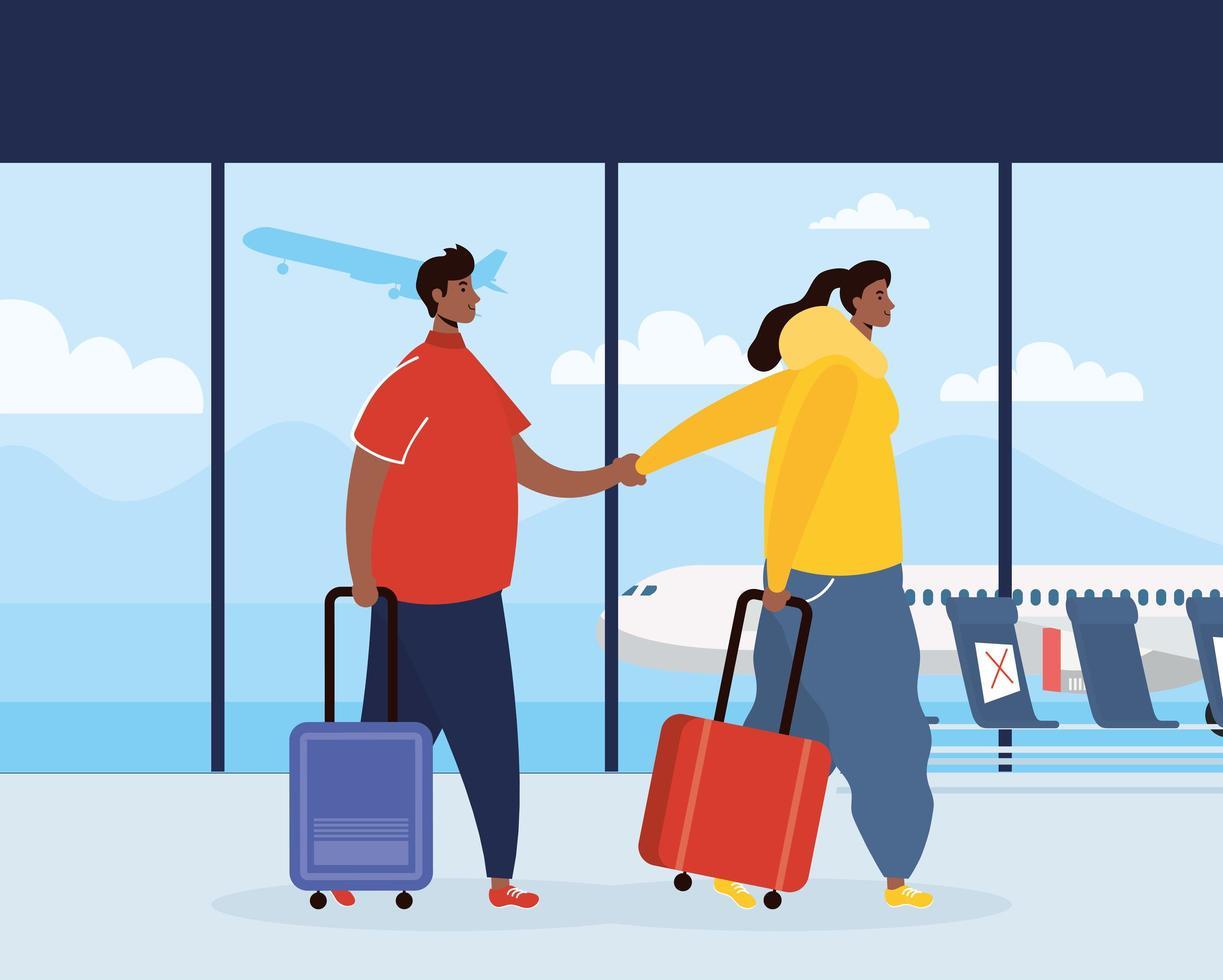 een paar reizigers met koffers op de luchthaven vector