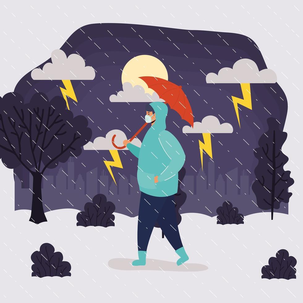 man met gezichtsmasker in regenachtig weerlandschap vector