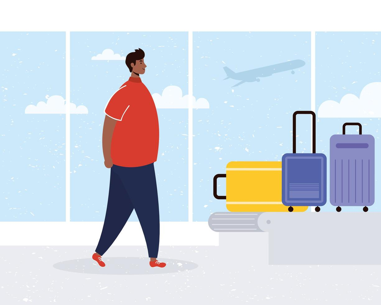 man op de luchthaven met de bagageband vector