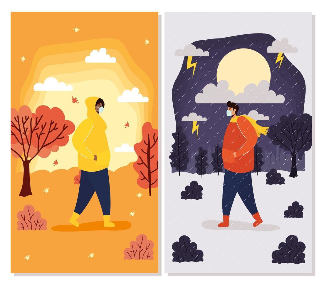 mensen met gezichtsmaskers in seizoensgebonden scènes kaartenset vector