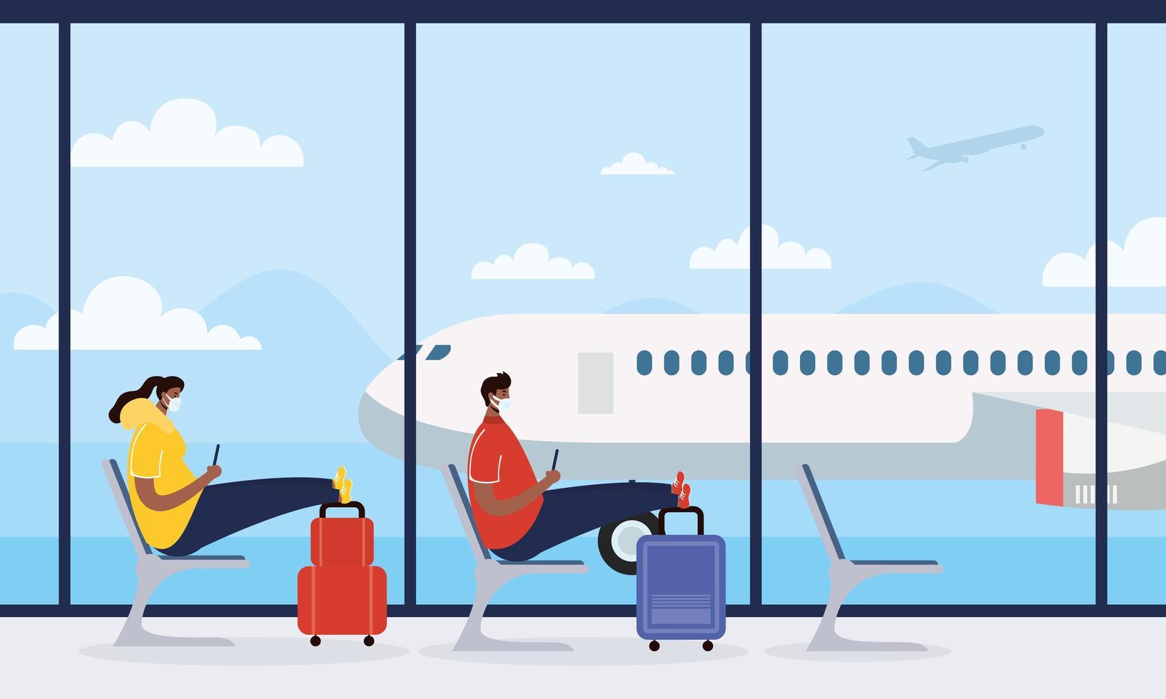 wachtkamer op de luchthaven met zittende mensen vector