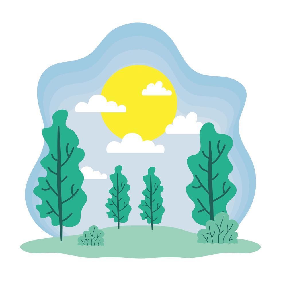 schattig lente seizoen landschap en klimaatscène vector