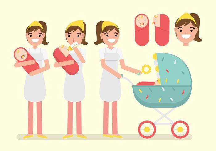 Activiteit van Nanny / Baby Sitter Vector