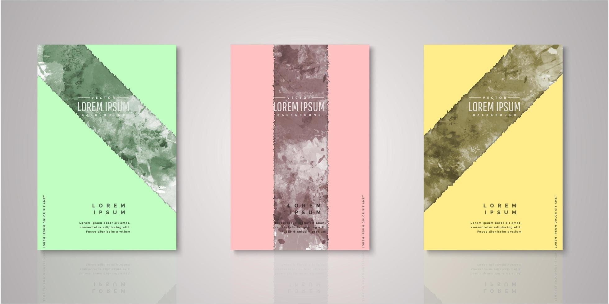 set aquarel stripe covers vector