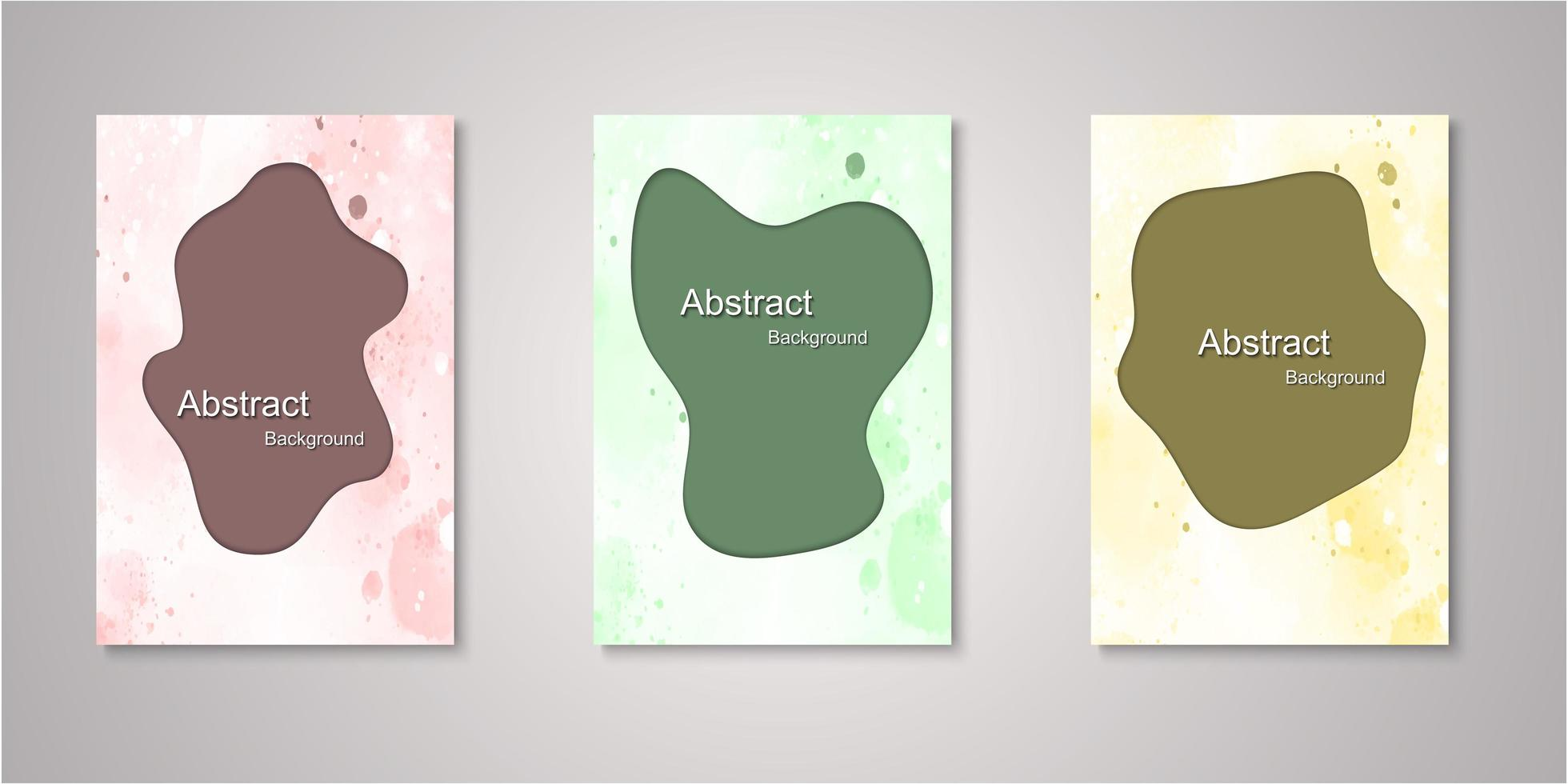 set van abstracte uitgesneden aquarel covers vector