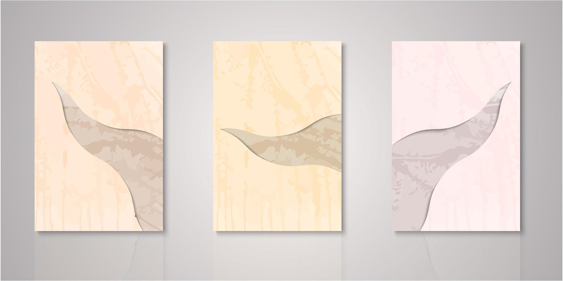 set van abstracte uitgesneden aquarel covers vector
