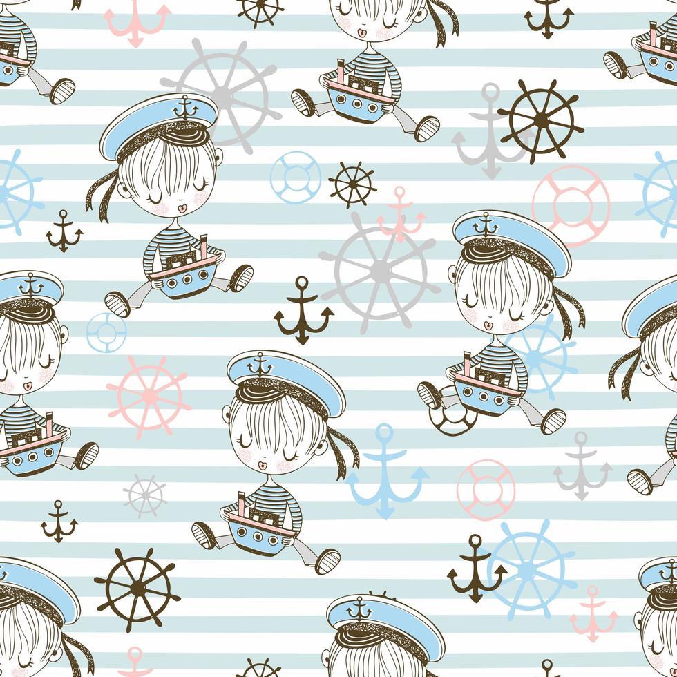 naadloze patroon met schattige zeeman jongens. vector
