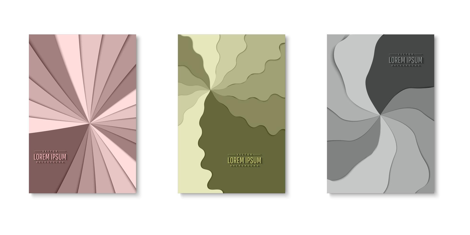 set pinwheel lagen papier gesneden covers vector