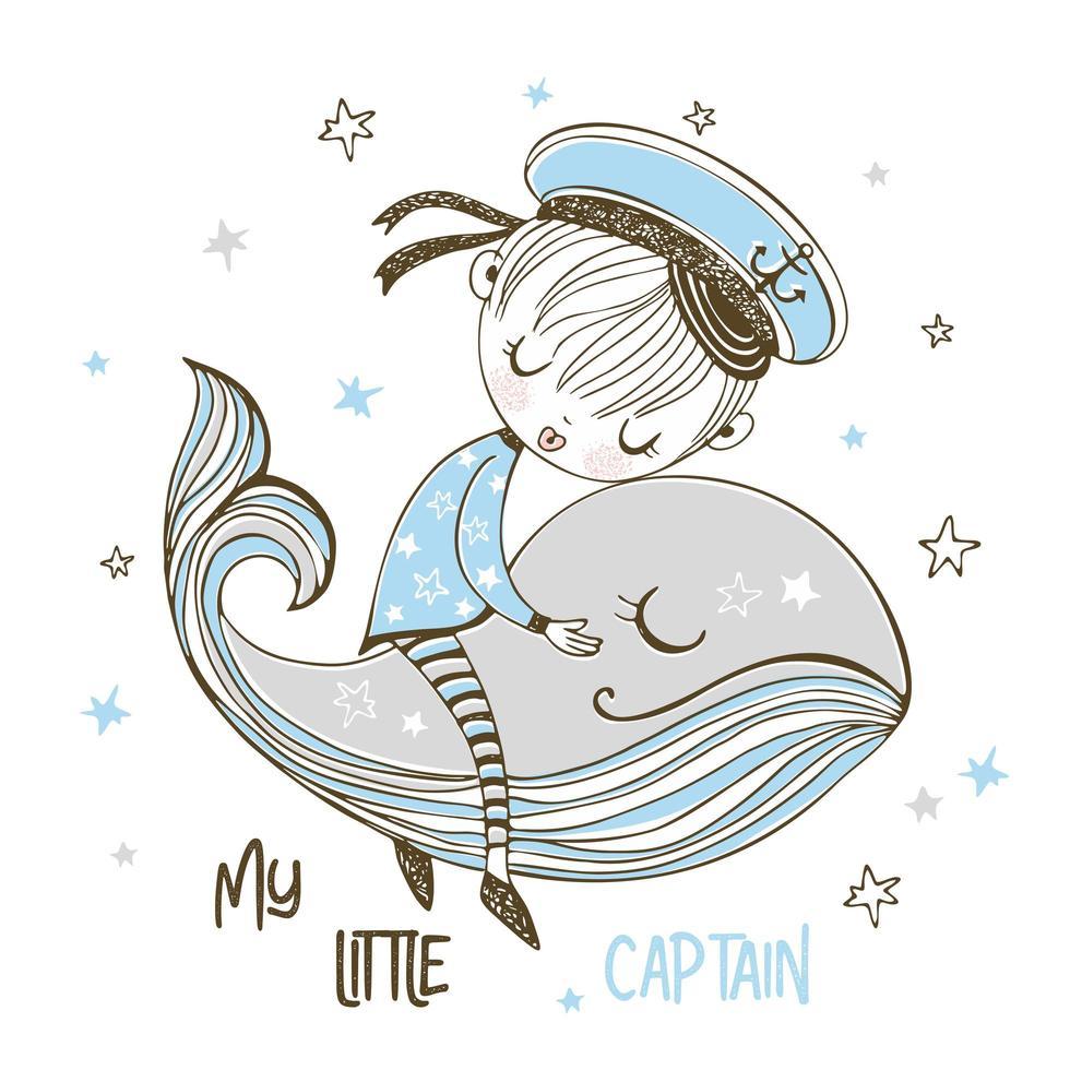 een matroosjongen slaapt op een walvis vector