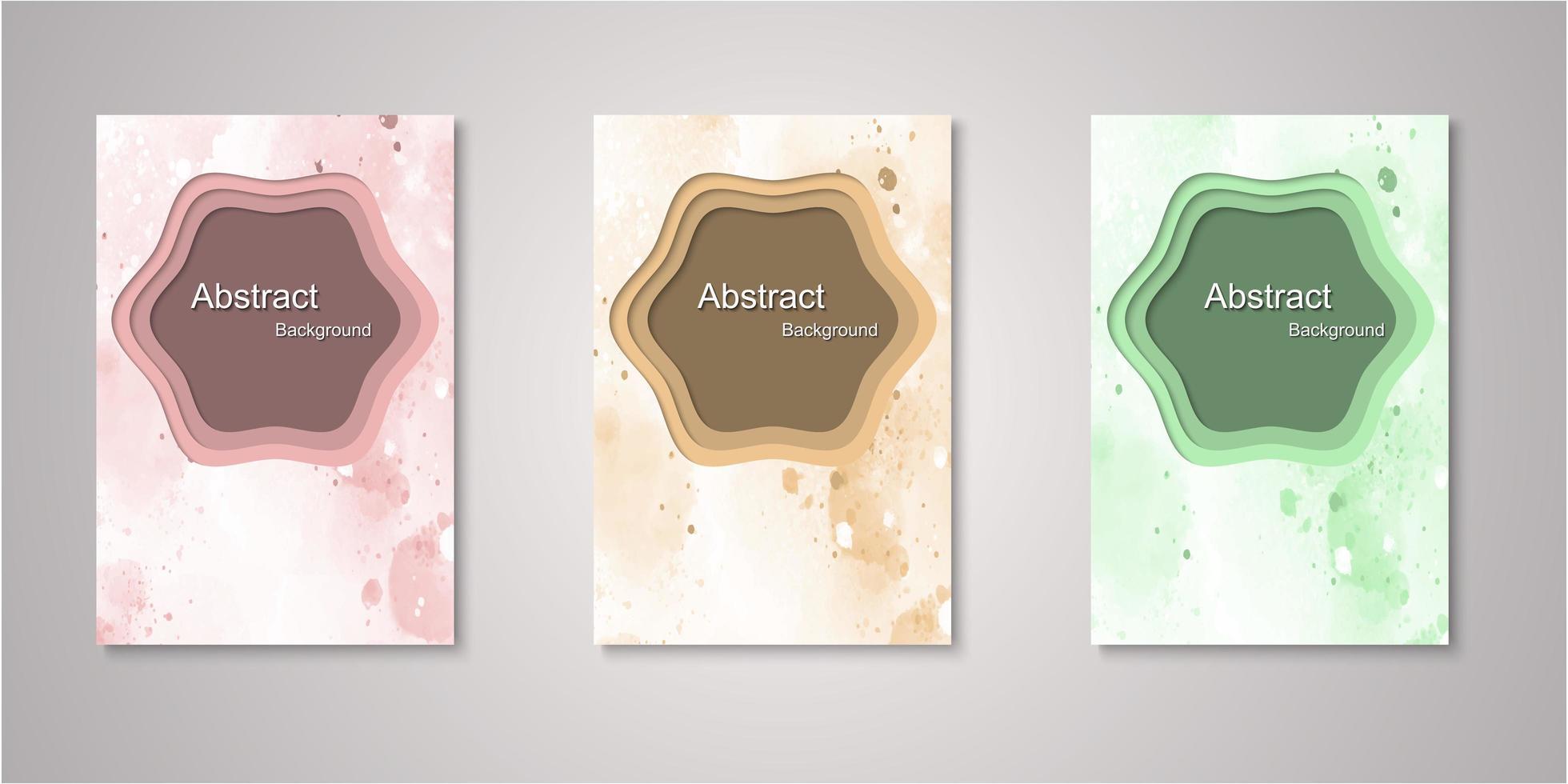set van abstracte vorm aquarel covers vector