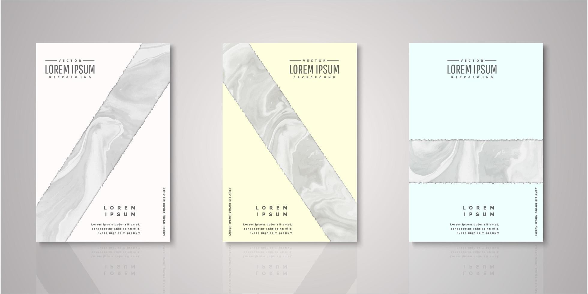 set van abstracte gescheurde streep aquarel covers vector