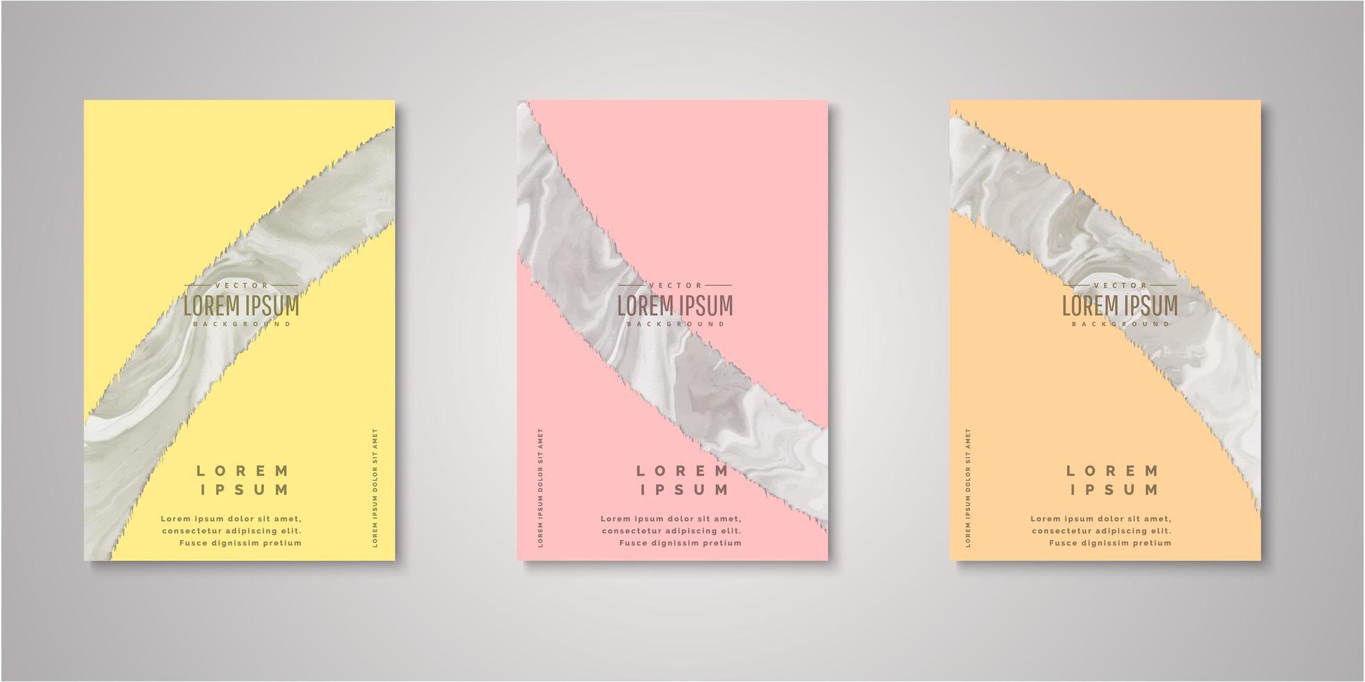 set van abstracte gescheurde vorm aquarel covers vector
