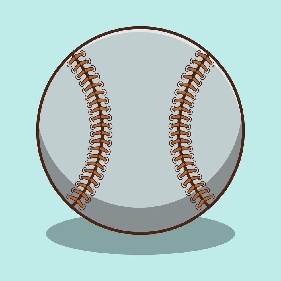 schattige honkbal cartoon met schaduw vector