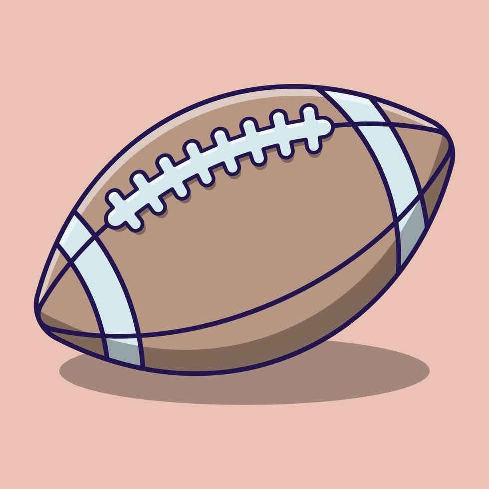 schattig rugbybal cartoon met schaduw vector