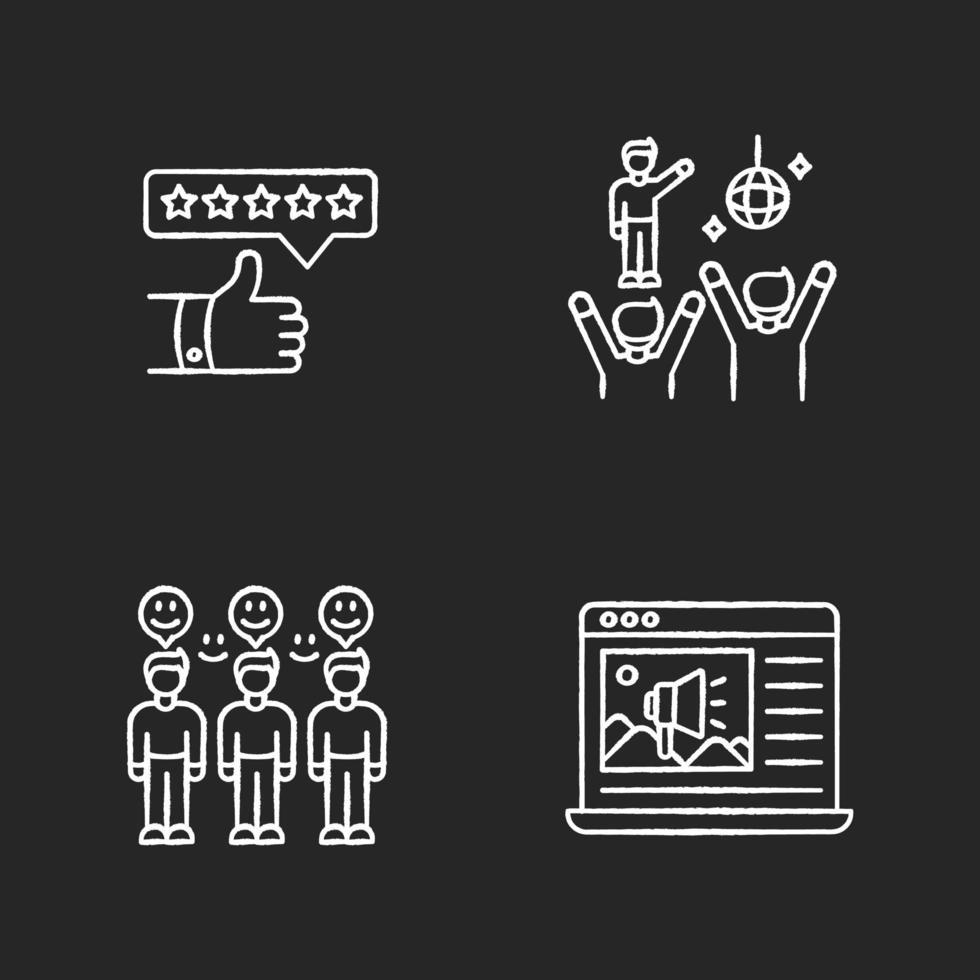 sociale media marketing krijt witte pictogrammen instellen vector