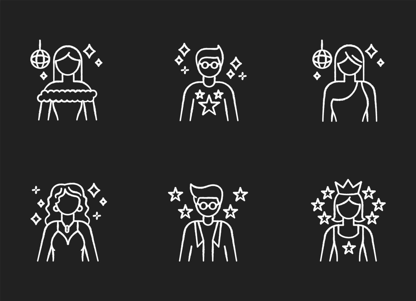 populaire beroemdheid krijt witte pictogrammen instellen vector