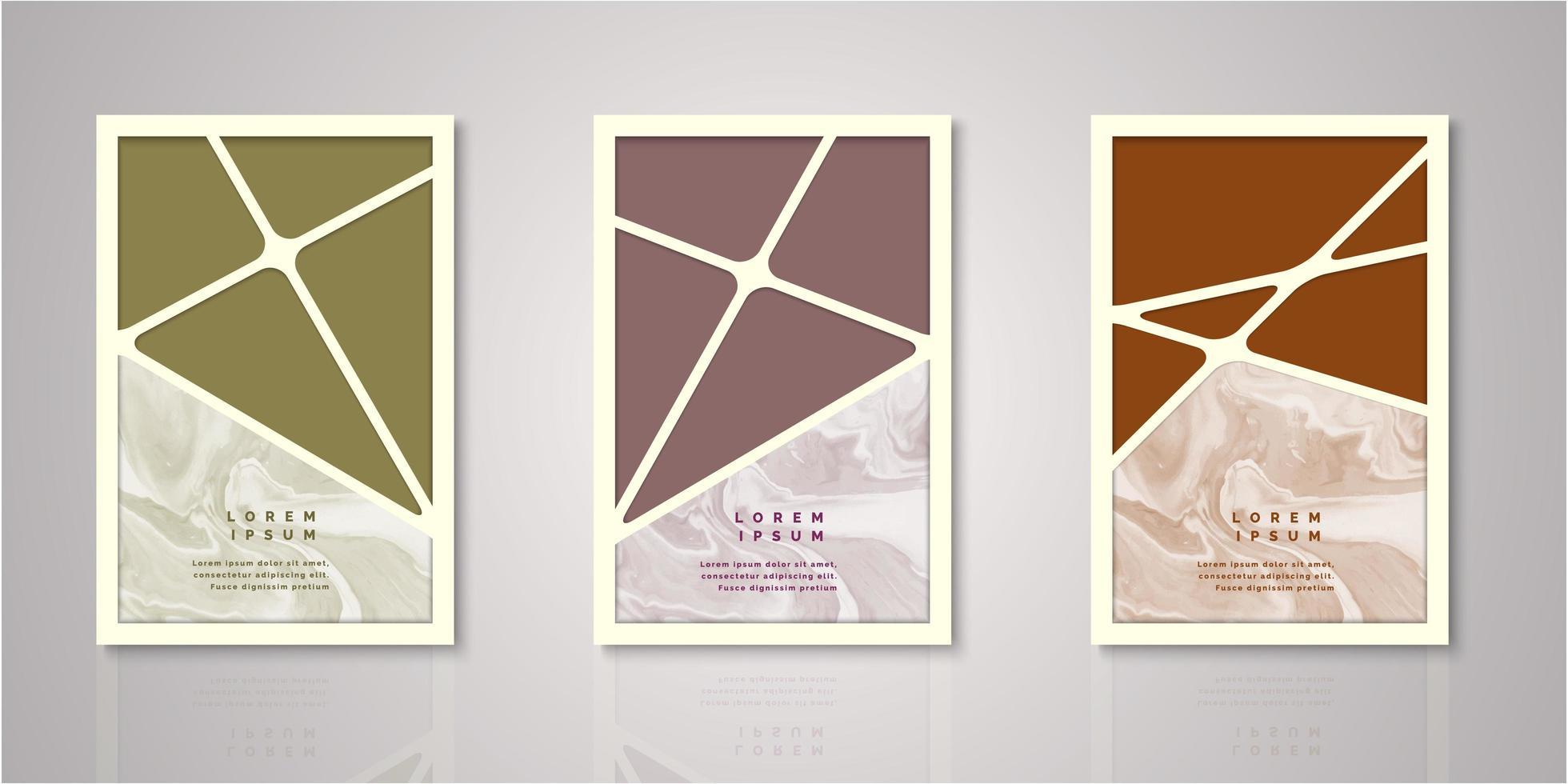 set geometrische streep aquarel covers vector