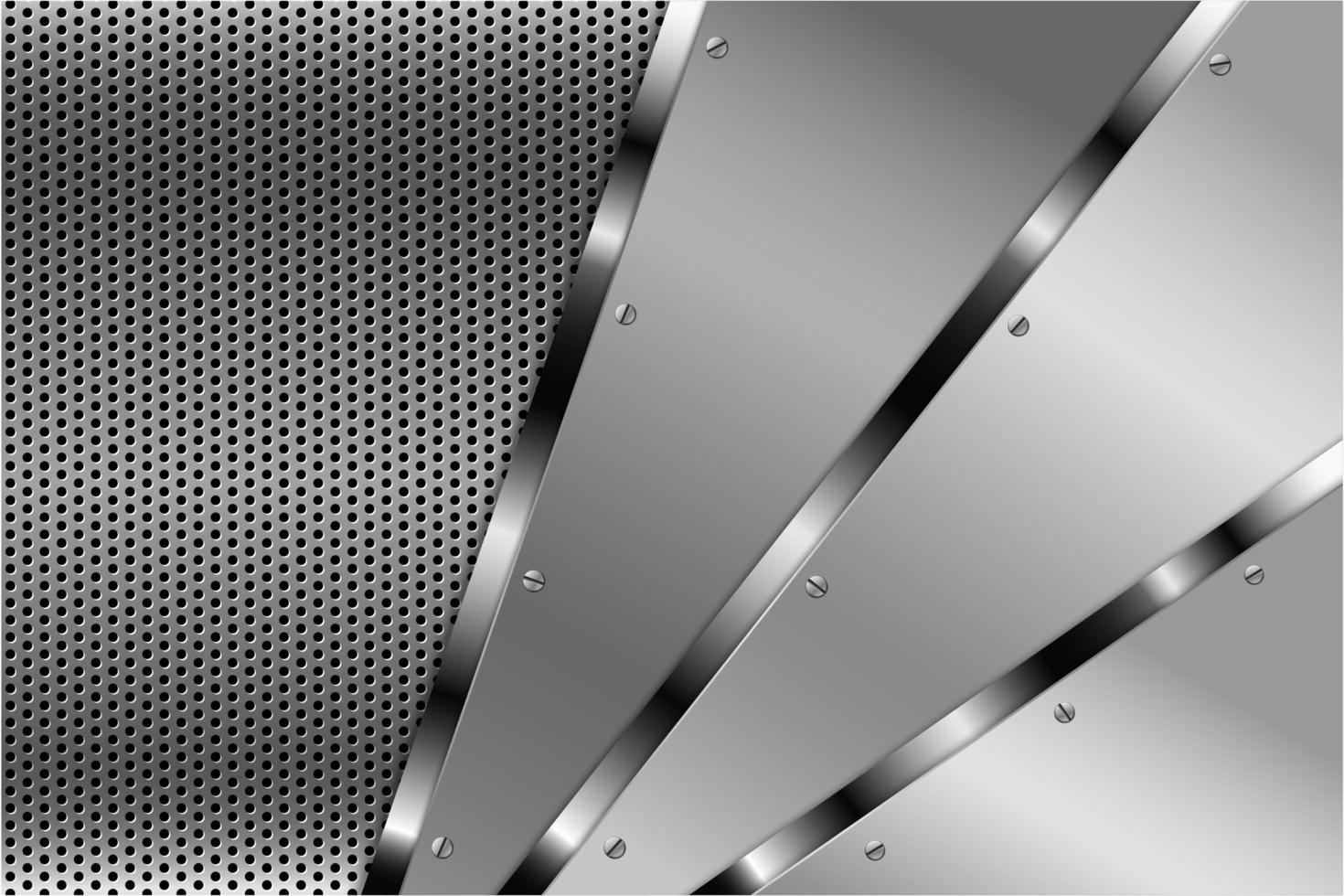 metalen zilveren schuine panelen met schroeven op geperforeerde structuur vector