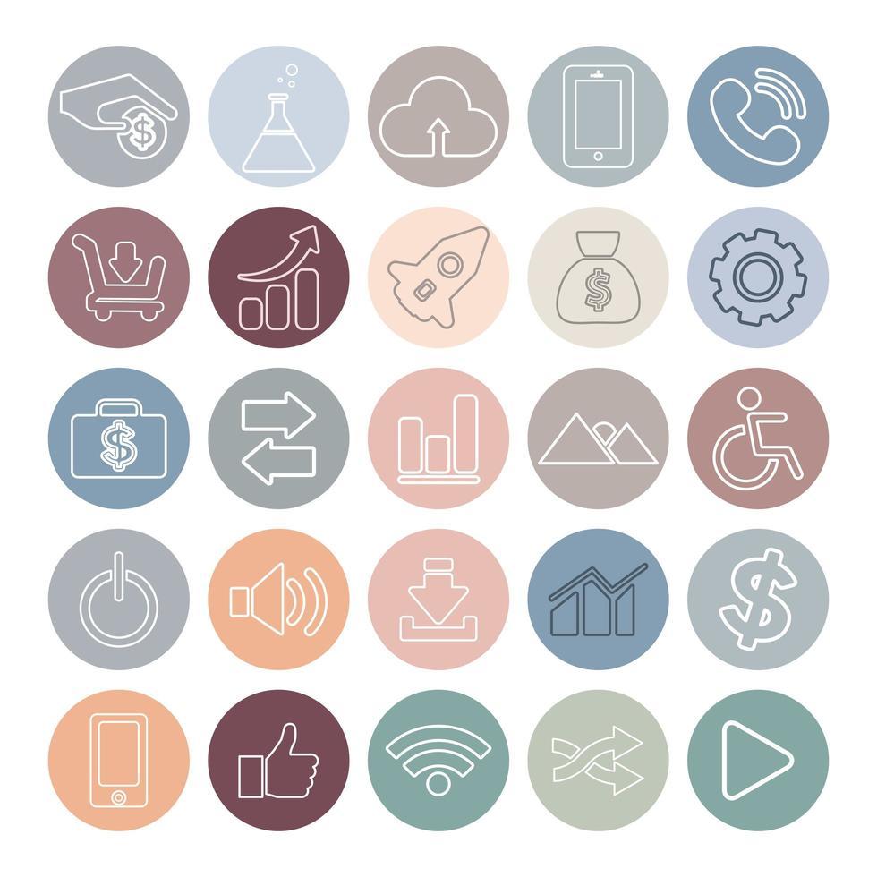 pastel circulaire social media iconen vector
