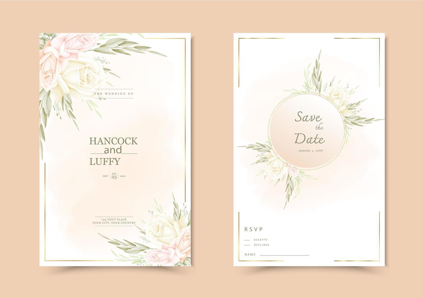 bloemen bruiloft uitnodigingskaart. vector