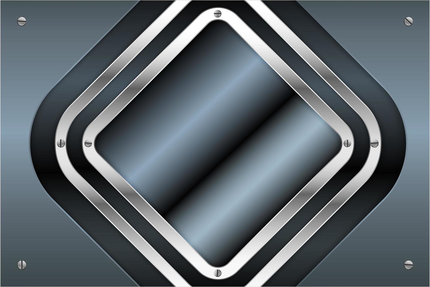 blauwe en zilveren metalen platen met schroeven technologie concept vector