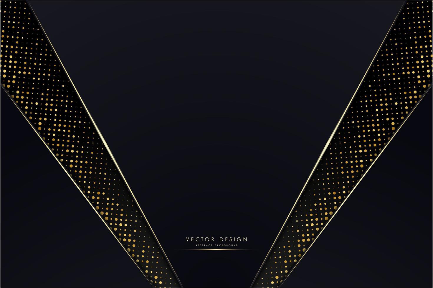donkerblauwe schuine panelen met gloeiende gouden stippen vector
