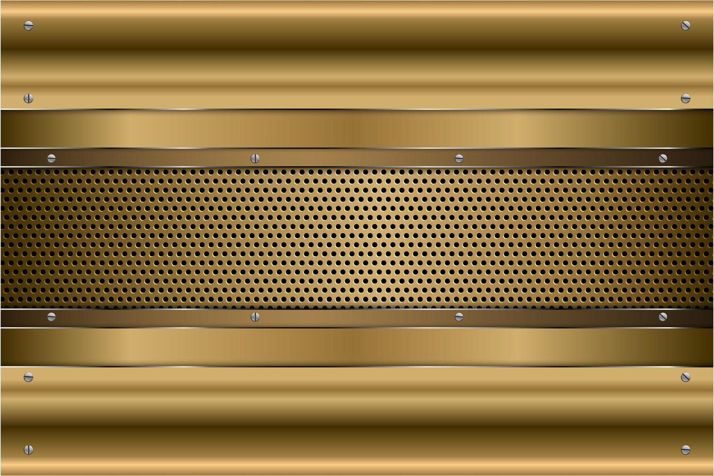 metallic gouden panelen met schroeven op geperforeerde textuur vector