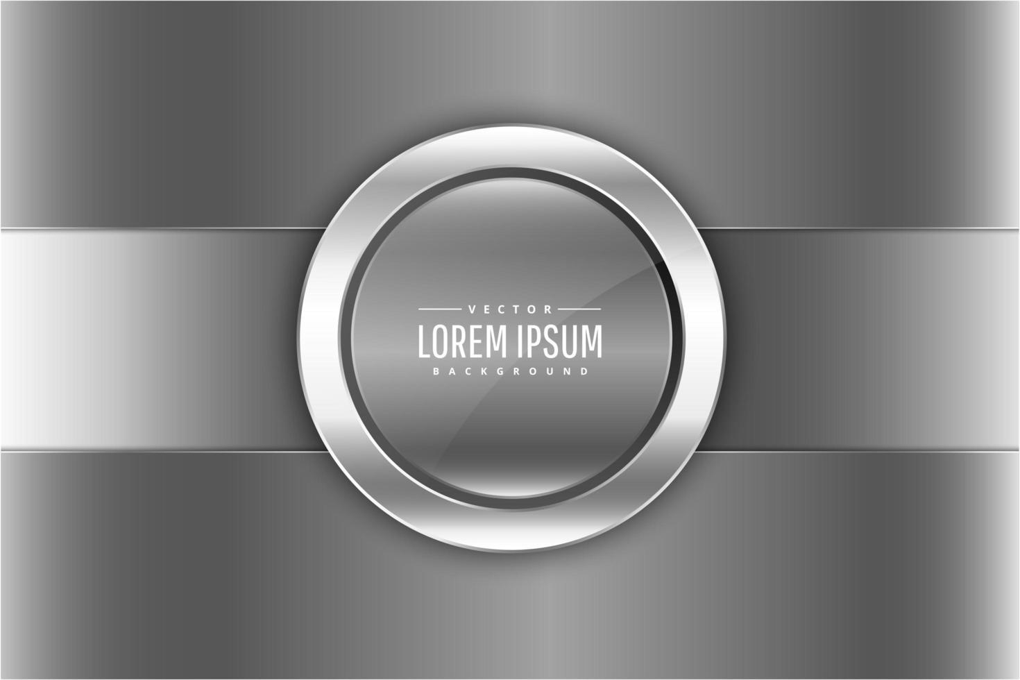 metallic zilveren panelen met ronde knop vector