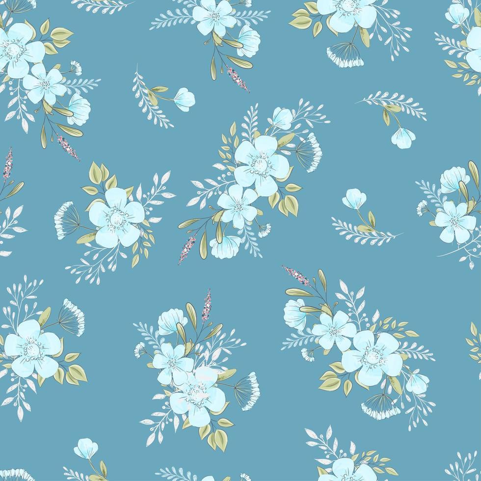 wilde bloemen hand getrokken naadloze patroon vector