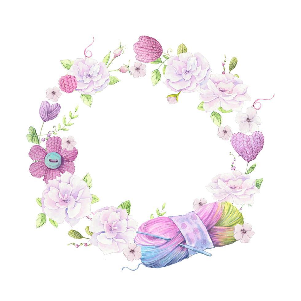 aquarel krans van gebreide elementen en Lentebloemen vector