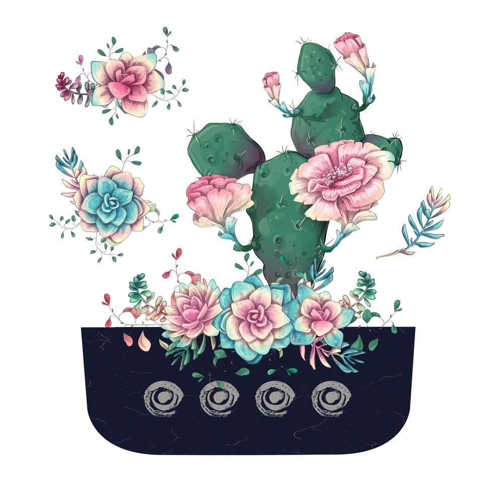 vetplanten en bloemen in pot hand getrokken aquarel vector