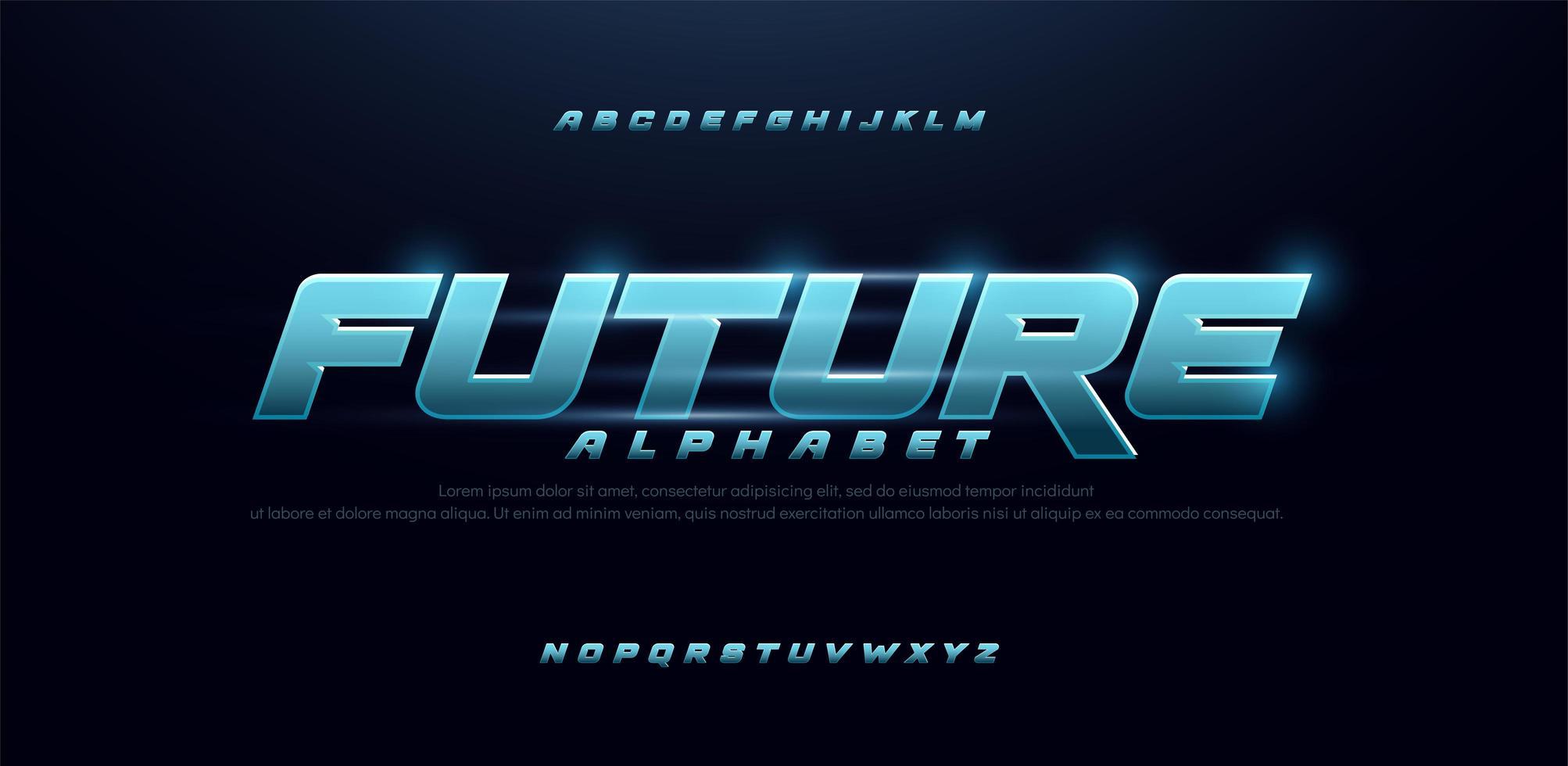 sport toekomstig blauw gloed modern lettertype vector