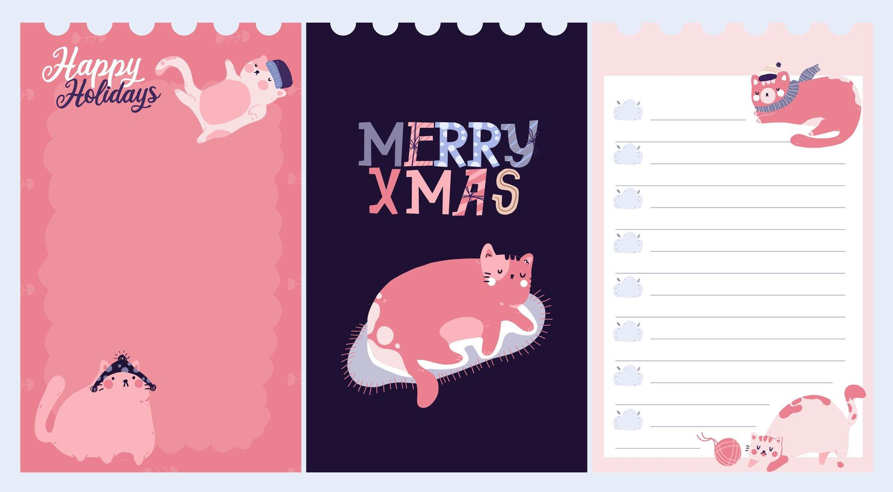kerstvakantie sticker, dagboek, notities ingesteld vector