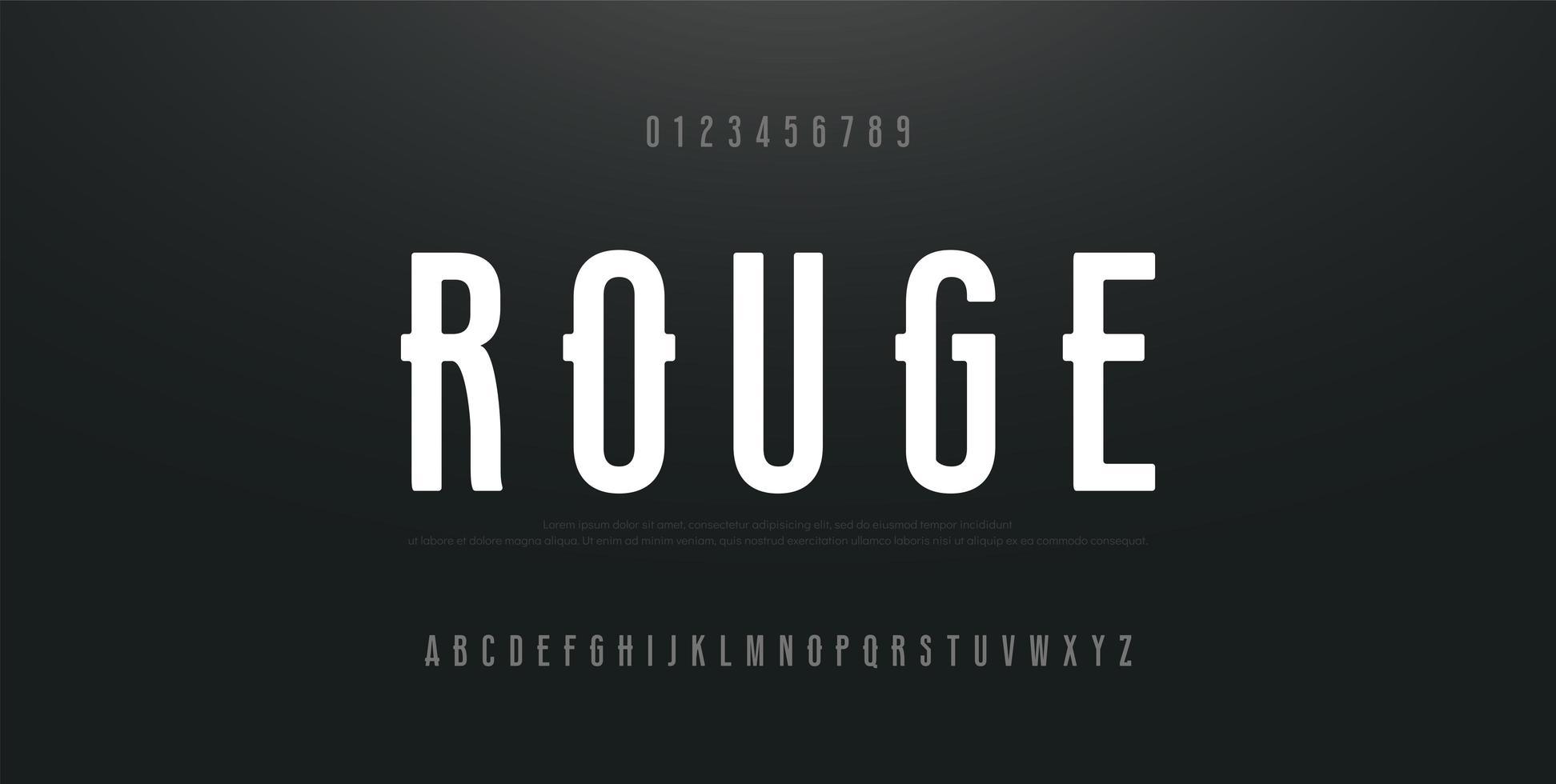 stedelijk modern lettertype met cijfers vector