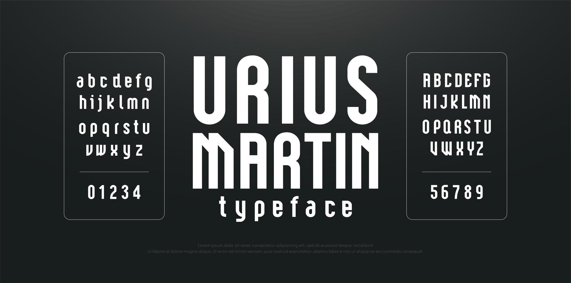 modern gecondenseerd lang eenvoudig lettertype vector