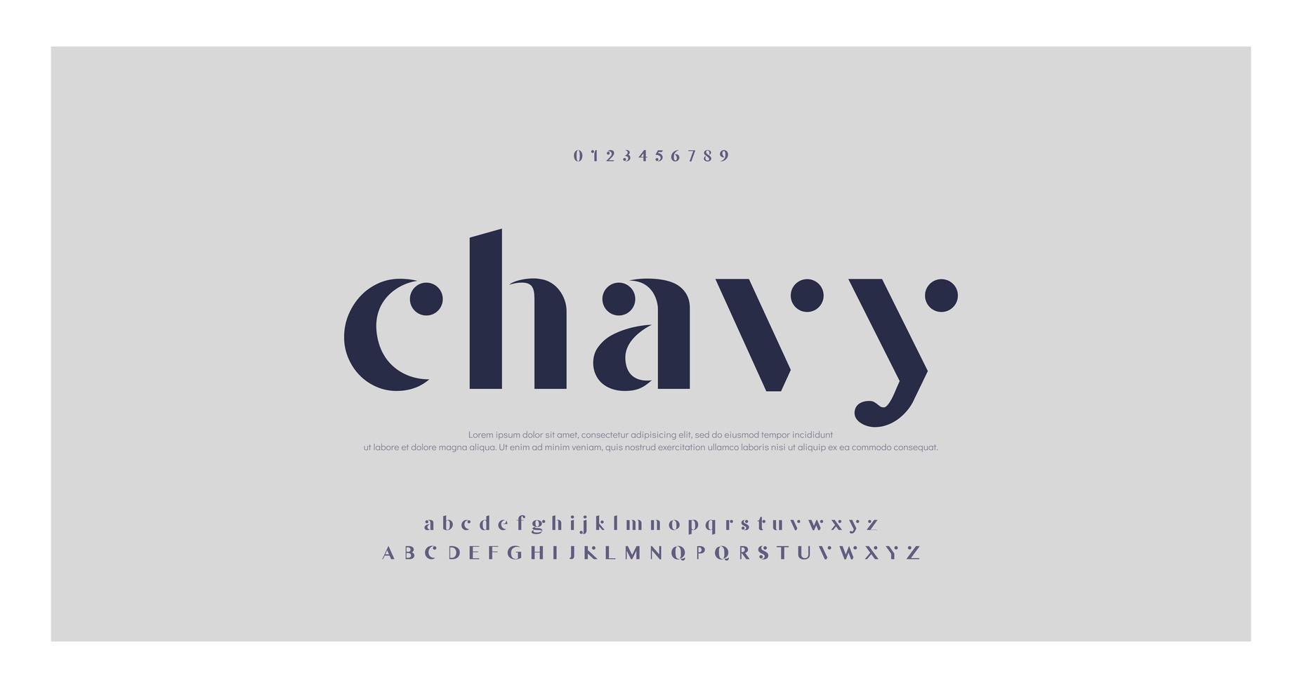 elegant minimaal modieus lettertype vector