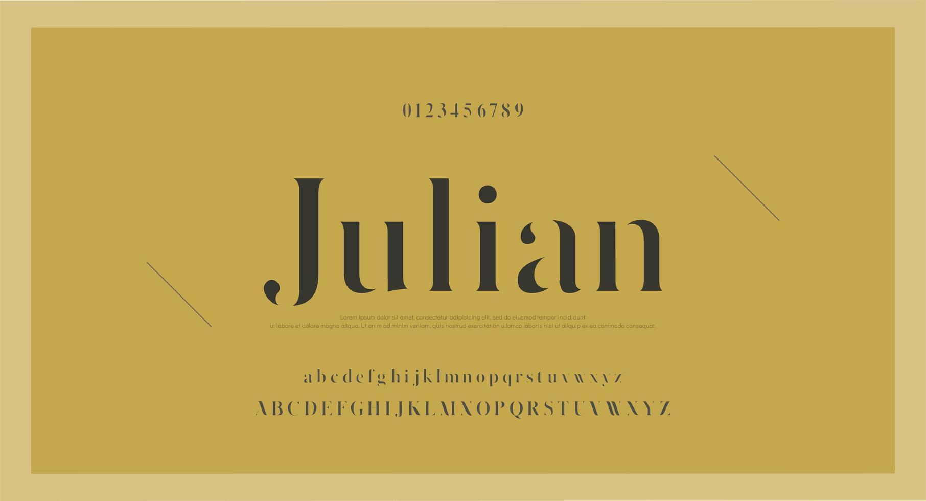 elegant vintage lettertype met cijfers vector