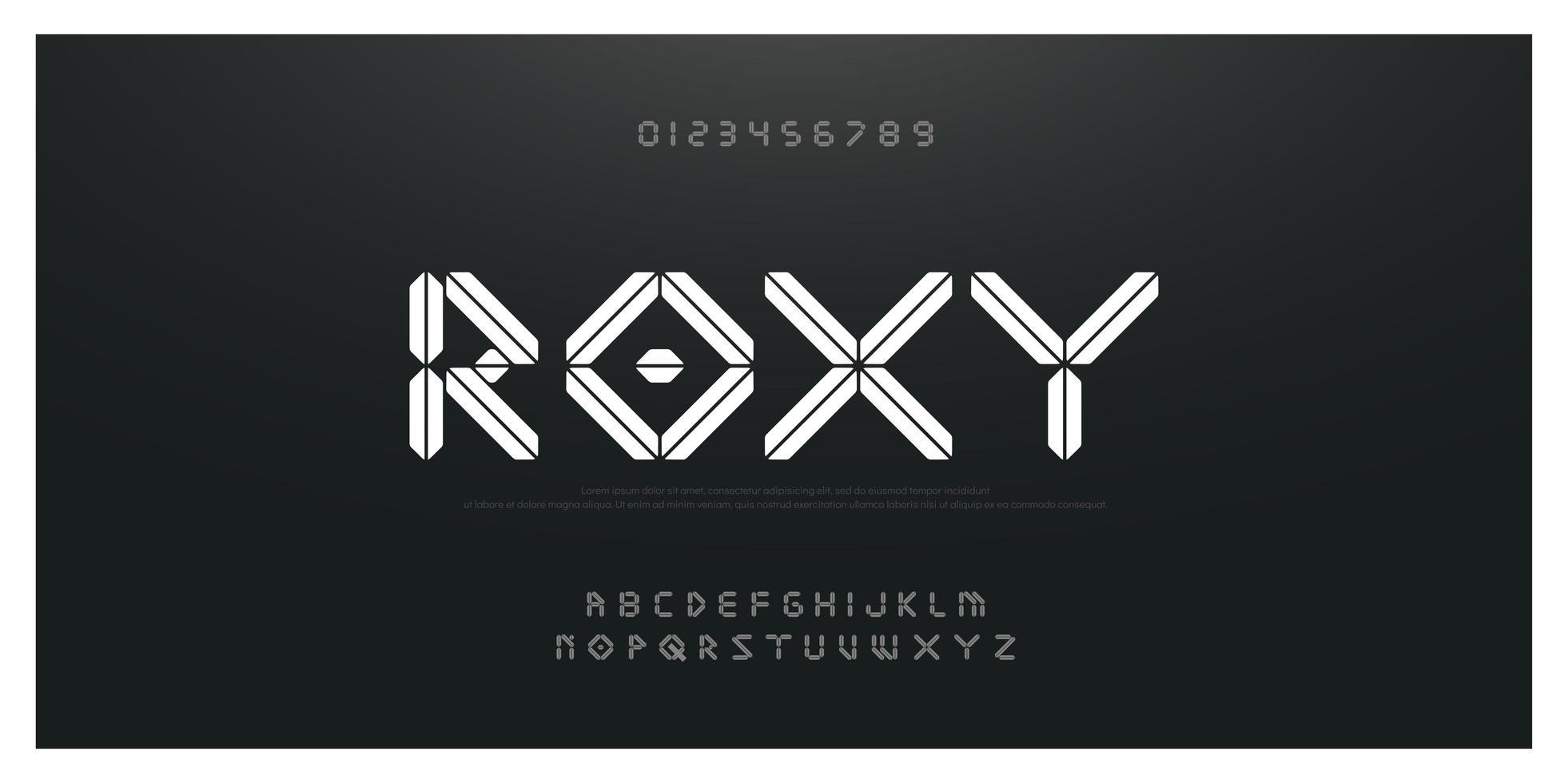 abstract techno en mode lettertype vector