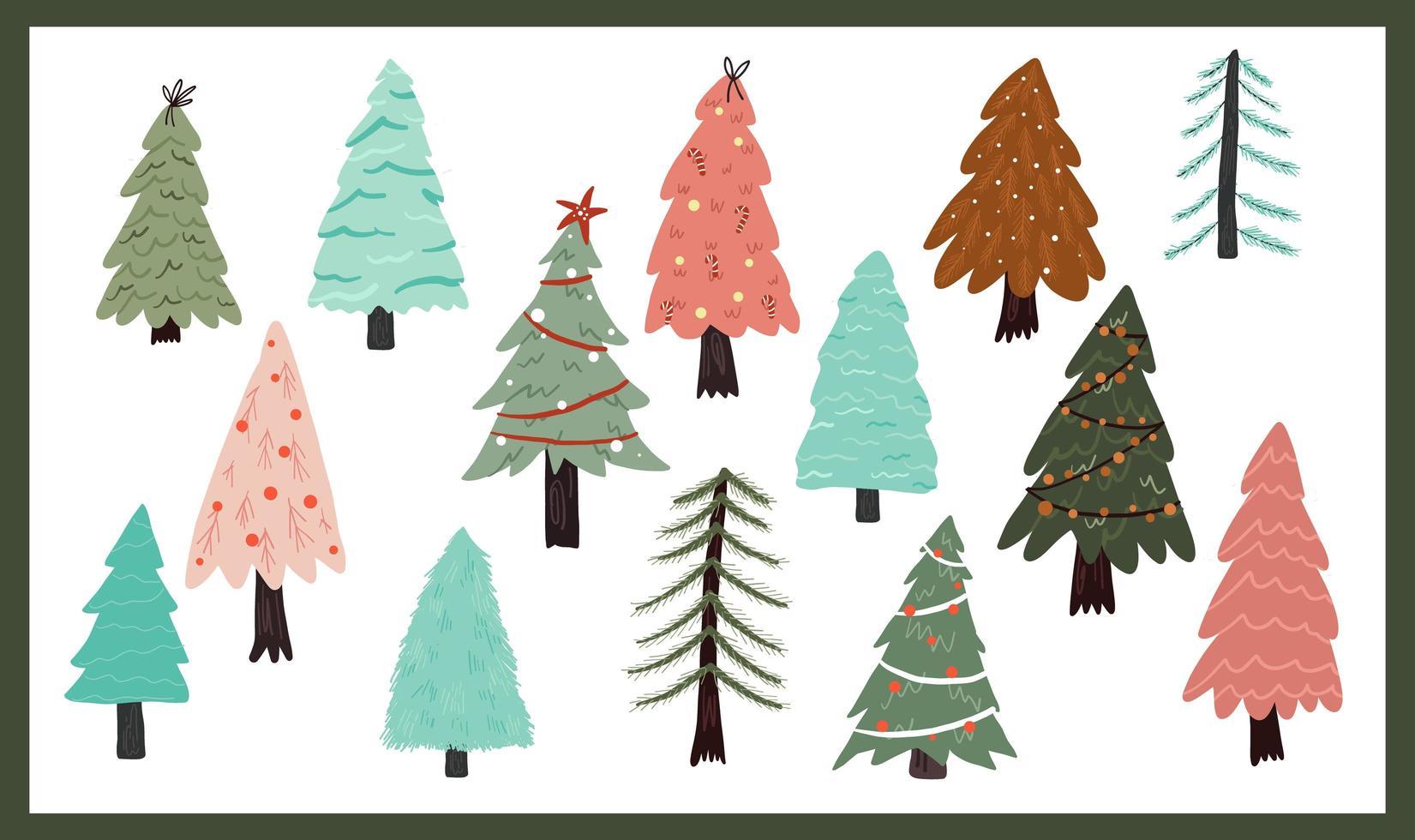 kerst schattige boomelementen vector
