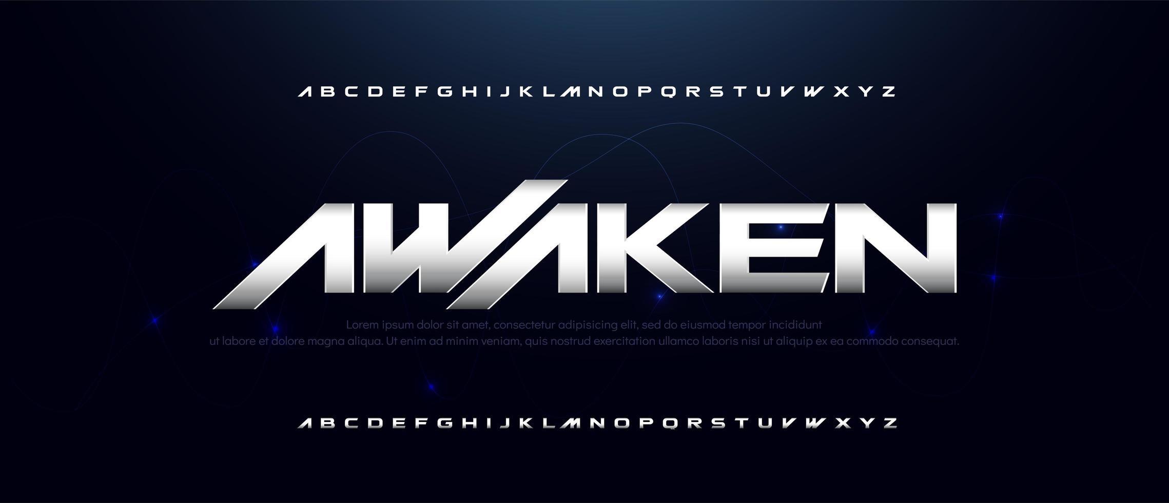 sport moderne technologie metallic lettertype vector
