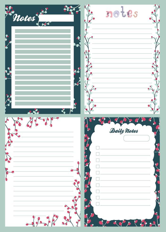 kerstvakantie sticker, dagboek, notities ingesteld vector