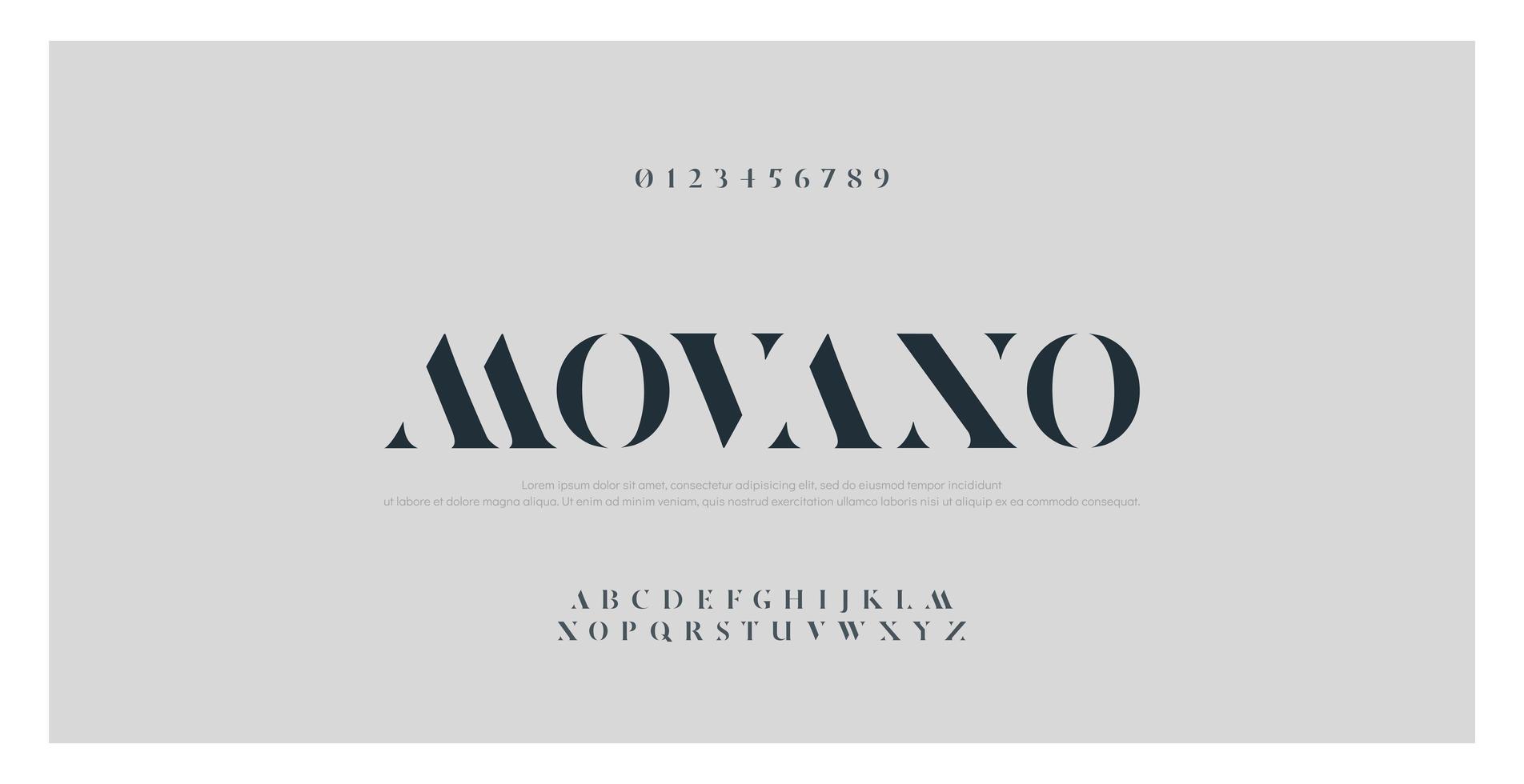 elegant mode alfabet en cijfers lettertype vector