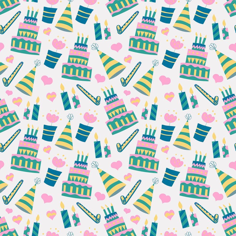 patroon van de achtergrond van de verjaardagstaart vector