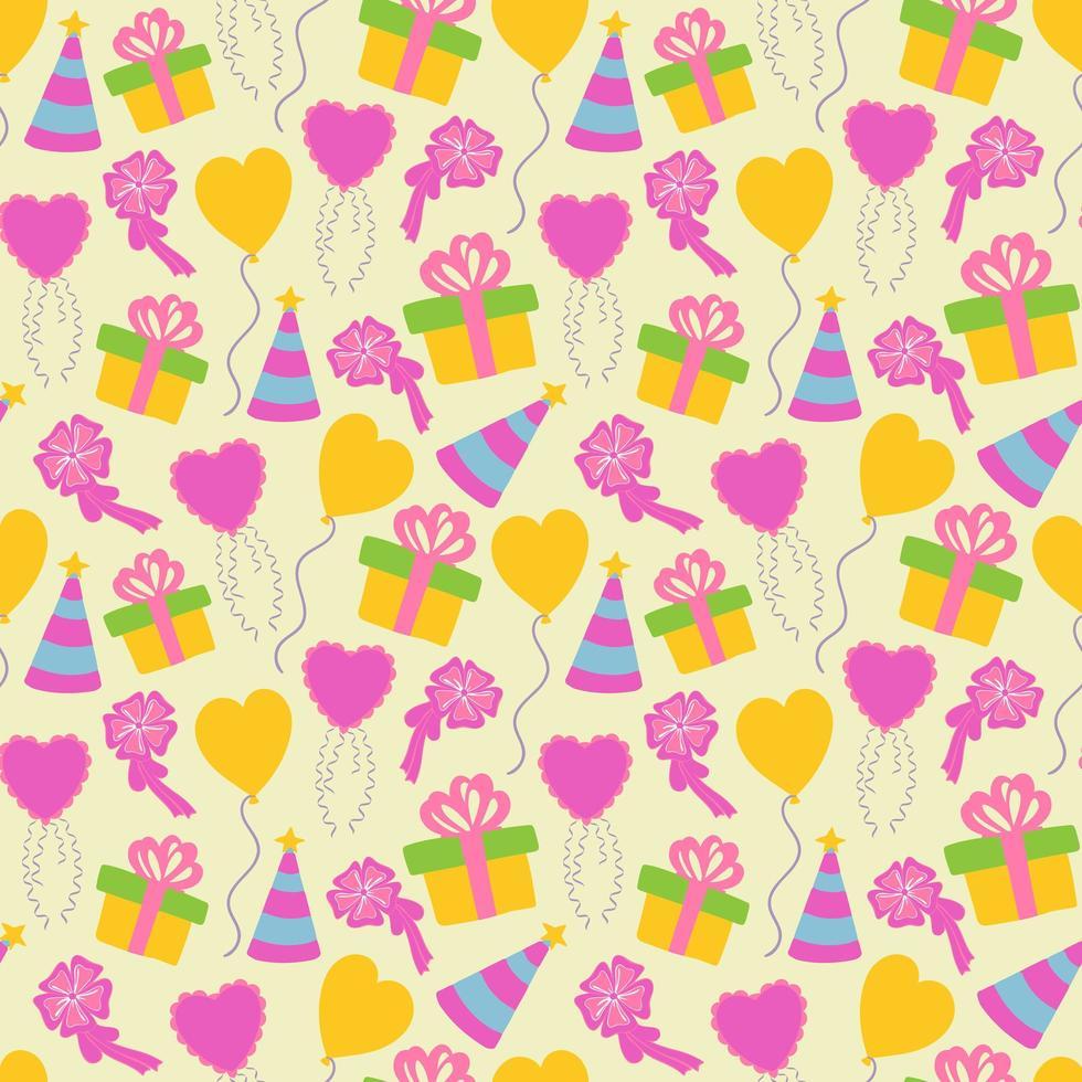 naadloze schattige doos cake en ballon achtergrondpatroon vector