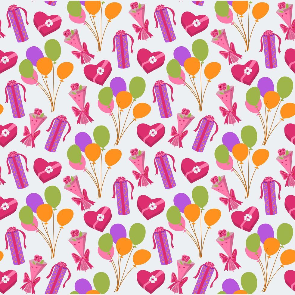 naadloze schattige ballon en geschenken achtergrondpatroon vector