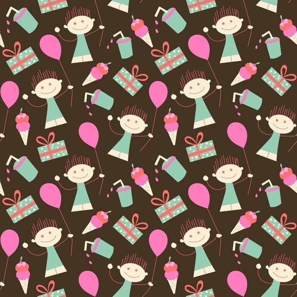 verjaardag naadloos behangmeisje en ballon vector