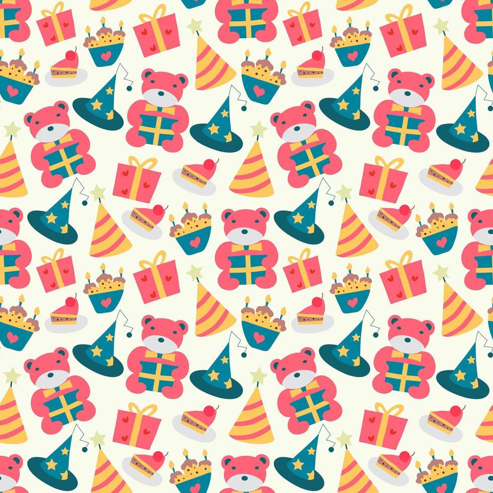 gelukkige verjaardag patroon met beer vector