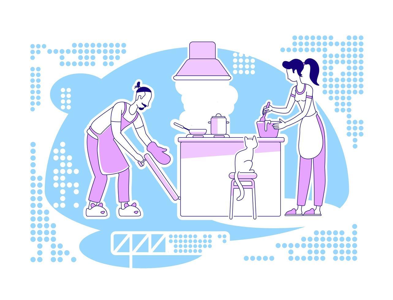 samen koken scène vector
