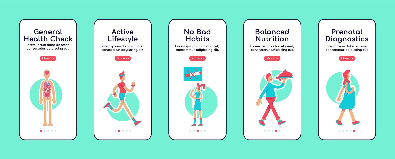 mobiele app-schermen voor algemene gezondheidszorg vector