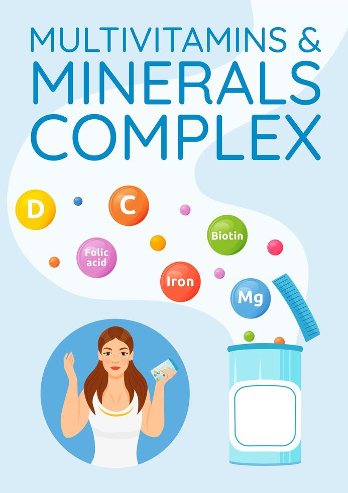 multivitaminen en mineralen complexe poster vector